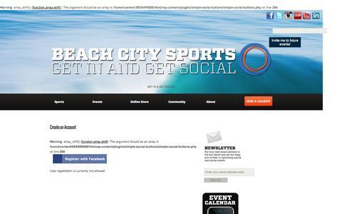 Screenshot of Signup Page beachcitysports.com captured Oct. 5, 2014