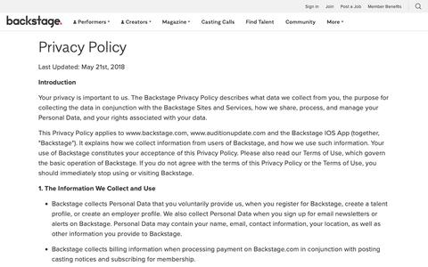 Screenshot of Privacy Page backstage.com - Privacy Policy - captured Dec. 1, 2018