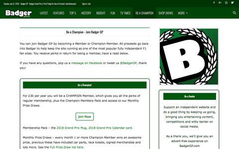 Screenshot of Signup Page badgergp.com - Be a Champion - Join Badger GP › Badger GP - captured Aug. 1, 2018