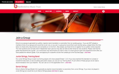 Screenshot of Signup Page bedfordshiremusictrust.org.uk - JOIN A GROUP – The Bedfordshire Music Trust The Bedfordshire Music Trust - captured Sept. 30, 2014
