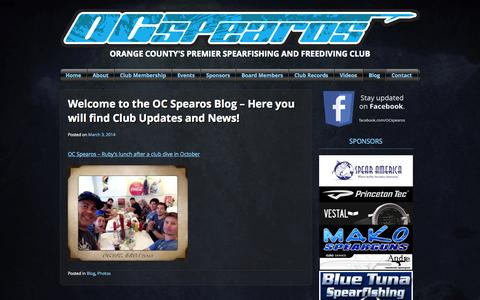 Screenshot of Blog ocspearos.org - Blog | OC Spearos | Orange County's Premier Spearfishing and Freediving Club - captured Sept. 30, 2014