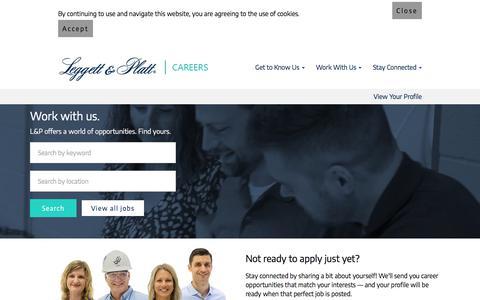 Screenshot of Jobs Page leggett.com - Careers at Leggett  & Platt   L&P Jobs - captured July 11, 2019