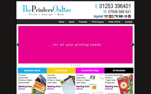 Screenshot of Home Page theprintersonline.co.uk - blackpool printers, plus all print, leaflet printing, stationery, business cards, the printers online - captured Sept. 30, 2014