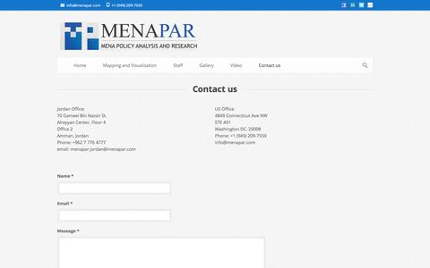 Screenshot of Contact Page menapar.com - Menapar | Policy Mapping and Visualization | Policy Analysis | Research   » Contact us - captured Dec. 19, 2015