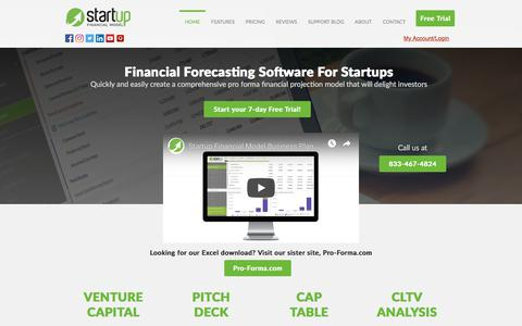 Screenshot of Home Page startupfinancialmodel.com - Startup Financial Model | Business Plan Template - captured July 13, 2019