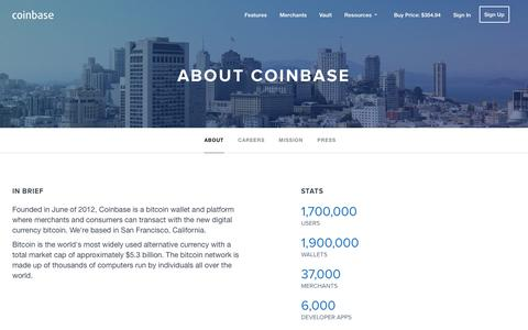 Screenshot of About Page coinbase.com - About - Coinbase - captured Oct. 28, 2014