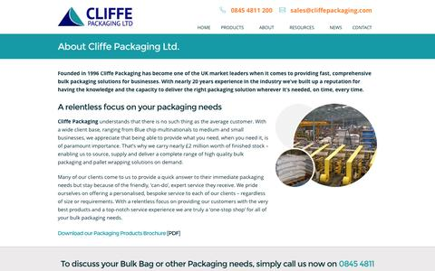 Screenshot of About Page cliffepackaging.com - About Us - Cliffe Packaging Ltd - captured Oct. 2, 2014