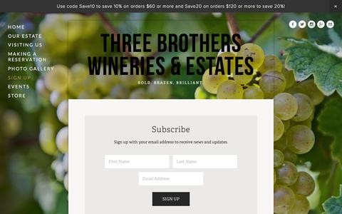 Screenshot of Signup Page 3brotherswinery.com - Sign Up — Three Brothers Wineries & Estates - captured Feb. 16, 2016