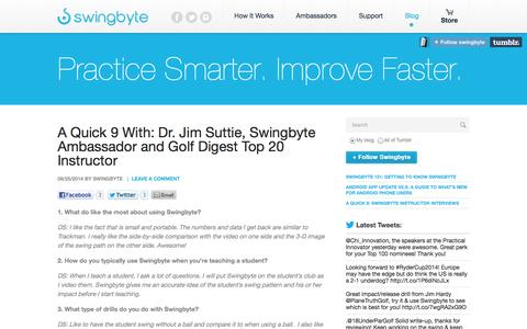 Screenshot of Blog swingbyte.com - Practice Smarter. Improve Faster. - captured Sept. 25, 2014