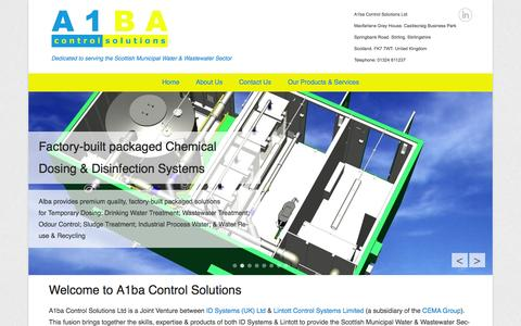 Screenshot of Home Page Menu Page a1ba.co.uk - A1ba Control Solutions | Dedicated to serving the Scottish Municipal Water & Wastewater Sector - captured Oct. 4, 2014
