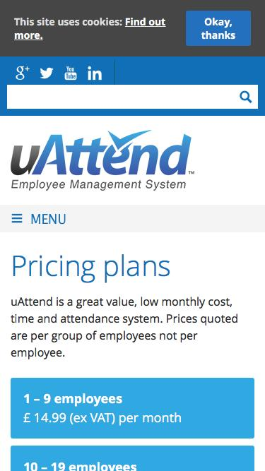 Screenshot of Pricing Page  uattend.co.uk - Time & Attendance Pricing Plans : uAttend