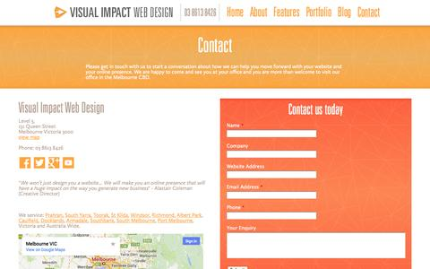 Screenshot of Contact Page visualimpactwebdesign.com.au - Contact - Visual Impact Web Design - captured Oct. 7, 2014