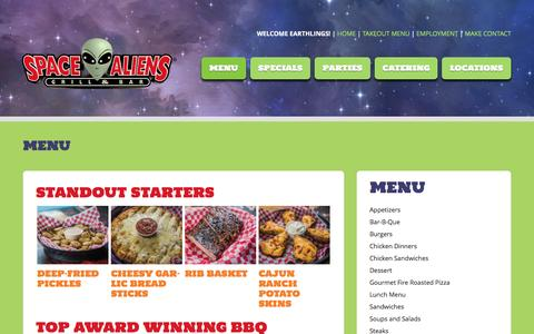 Screenshot of Menu Page spacealiens.com - Menu - Space AliensSpace Aliens - captured March 27, 2017