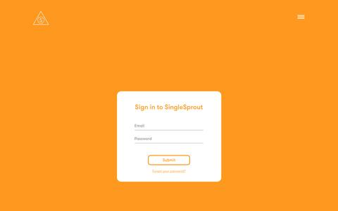 Screenshot of Login Page singlesprout.com - SingleSprout - captured May 27, 2017