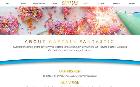 Screenshot of About Page captain-fantastic.co.uk - About Captain Fantastic, the No.1 Children's Entertainment company - captured Nov. 9, 2018