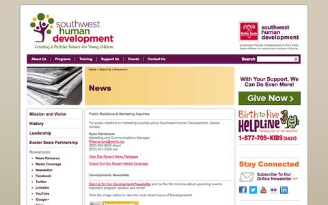 Screenshot of Press Page swhd.org - News and Media Contacts | Southwest Human Development - captured Oct. 6, 2014