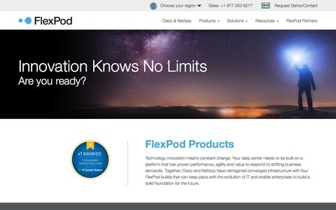 Screenshot of Products Page flexpod.com - Converged Infrastructure Products from NetApp & Cisco | FlexPod - captured July 10, 2018
