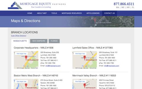Screenshot of Maps & Directions Page mortgageequitypartners.com - Massachusetts, New Hampshire, Maine and Florida Locations |  Mortgage Equity Partners - captured Jan. 12, 2016