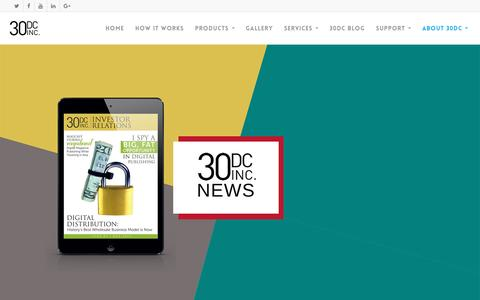 Screenshot of Press Page 30dcinc.com - News - 30DC Inc - captured Dec. 2, 2016