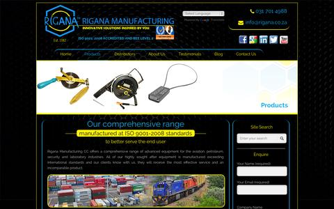 Screenshot of Products Page rigana.co.za - Products   Manufacturing Products   Rigana Manufacturing - captured Oct. 9, 2014