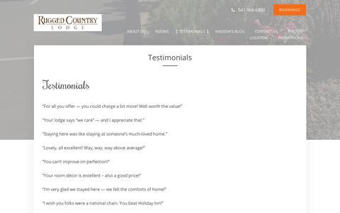 Screenshot of Testimonials Page ruggedcountrylodge.com - Guest Testimonials - Rugged Country Lodge - Pendleton - United States - captured June 19, 2016