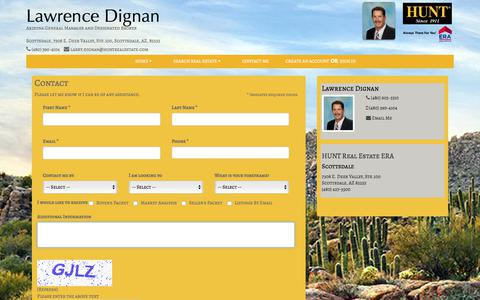 Screenshot of Contact Page huntrealestate.com - Contact - Lawrence Dignan - HUNT Real Estate ERA, Scottsdale - captured Jan. 11, 2018