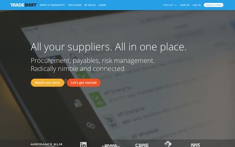 Screenshot of Home Page tradeshift.com - Supplier Collaboration Platform for eProcurement in the Cloud : Tradeshift - captured Feb. 9, 2016