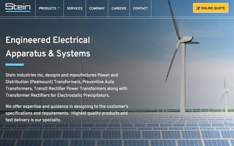 Screenshot of Home Page steinindustriesinc.com - Engineered Power Transformers & Electrical Systems | Stein Industries - captured Sept. 21, 2018
