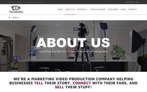 Screenshot of About Page thevideobox.com.au - Video Marketing Agency in Salisbury, Queensland - The Video Box - captured July 9, 2018
