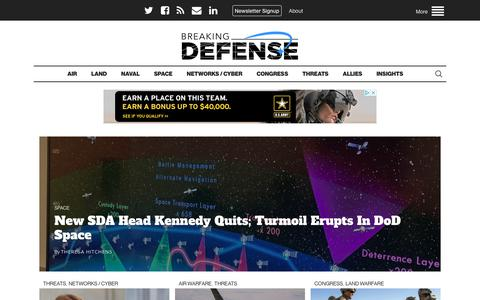 Screenshot of Home Page breakingdefense.com - Breaking Defense - Defense industry news, analysis and commentary - captured June 21, 2019