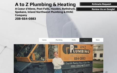 Screenshot of About Page atozplumbingheating.com - About Us - A to Z Plumbing & Heating - Coeur d'Alene, ID - captured May 23, 2017