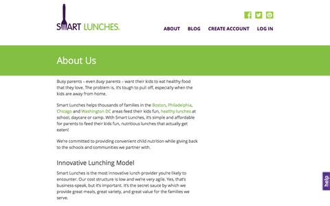 Screenshot of About Page smartlunches.com - Smart Lunches | About Us - captured July 4, 2016