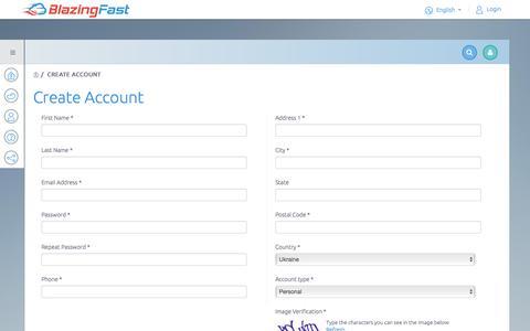 Screenshot of Signup Page blazingfast.io - Create Account - BlazingFast - captured Nov. 22, 2016