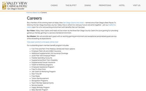 Screenshot of Jobs Page valleyviewcasino.com - Casino in California, San Diego Casino Employment - Valley View Casino Employment - captured Nov. 20, 2015