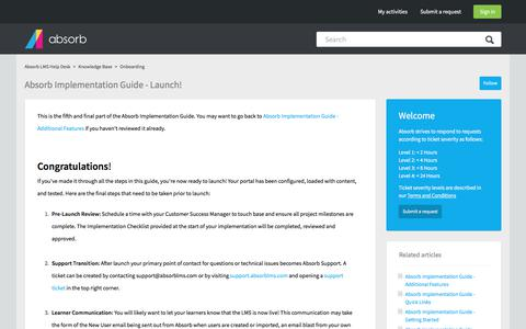 Screenshot of Support Page absorblms.com - Absorb Implementation Guide - Launch! – Absorb LMS Help Desk - captured Jan. 23, 2018