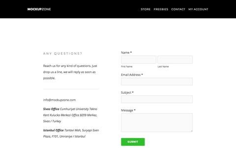 Screenshot of Contact Page mockup.zone - Mockup Zone -Contact - captured July 7, 2018