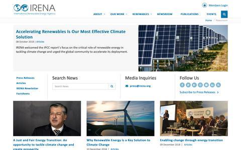 Screenshot of Press Page irena.org - IRENA Newsroom - captured Dec. 17, 2018