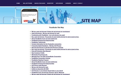 Screenshot of Site Map Page pacebutler.com - Site Map for Buyers of Used Cell Phone - PaceButler - captured Sept. 26, 2018