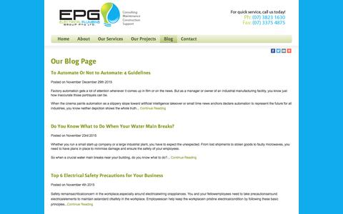 Screenshot of Blog epgi.com.au - Our Blog About Industrial Plumbing & Electrics - captured Jan. 23, 2016