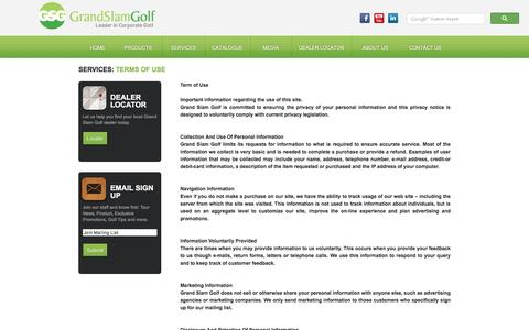 Screenshot of Terms Page grandslam-golf.com - Grand Slam Golf - Terms of Use - captured July 16, 2016