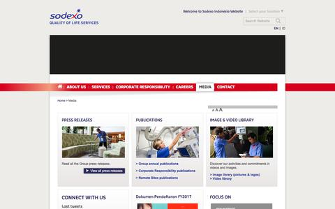 Screenshot of Press Page sodexo.com - Sodexo Indonesia: Press releases, publications, video and image library - captured July 8, 2019