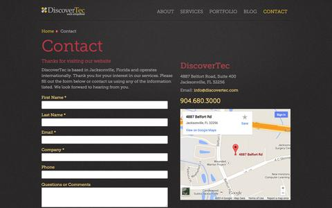 Screenshot of Contact Page Maps & Directions Page discovertec.com - Contact – DiscoverTec - captured Oct. 23, 2014