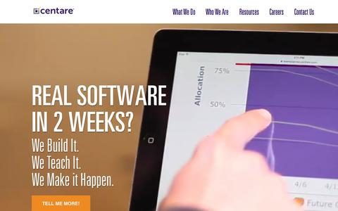 Screenshot of Home Page centare.com - Centare | Custom Software Development & Agile Training - captured Nov. 3, 2015