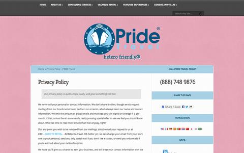 Screenshot of Privacy Page pride.travel - Privacy Policy - PRIDE Travel | PRIDE Travel - captured Oct. 3, 2014