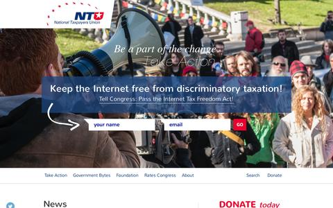 Screenshot of Home Page ntu.org - National Taxpayers Union©-© - captured Sept. 23, 2014