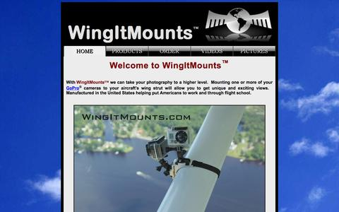 Screenshot of Home Page wingitmounts.com - External GoPro Camera Mounts for Cessna and Glasair Aiplanes - captured Oct. 7, 2014