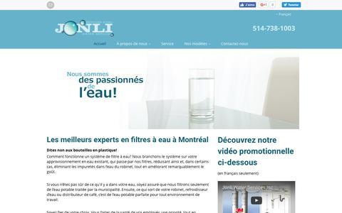 Screenshot of Home Page jonli.com - Jonli Water Services Inc   Unités de traitement de l'eau Montréal   À propos de votre eau - captured Nov. 27, 2016