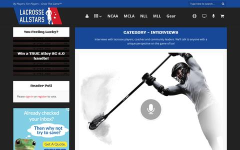Screenshot of laxallstars.com - Interviews - Lacrosse All Stars - captured April 5, 2016