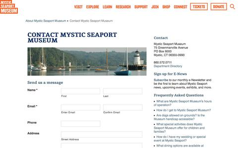 Screenshot of Contact Page mysticseaport.org - Contact Mystic Seaport Museum  |  Mystic Seaport - captured May 9, 2018