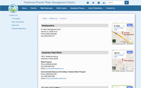 Screenshot of Locations Page state.fl.us - Northwest Florida Water Management District | Locations - captured Oct. 26, 2014